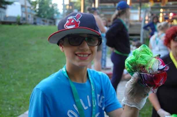 Camper Lucas showing us his tie-dyed creation.