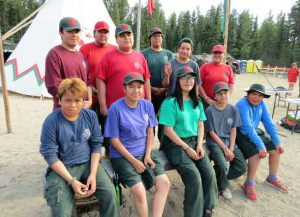 Some members of the Fort Albany Junior Canadian Ranger patrol at a recent training camp. credit Sergeant Peter Moon, Canadian Rangers