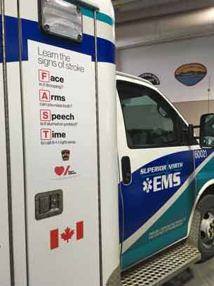 The FAST decal (such as this example on a Superior North EMS ambulance) will be displayed on ambulances across the region. The decals encourage individuals to call 911 right away if they encounter stroke symptoms.