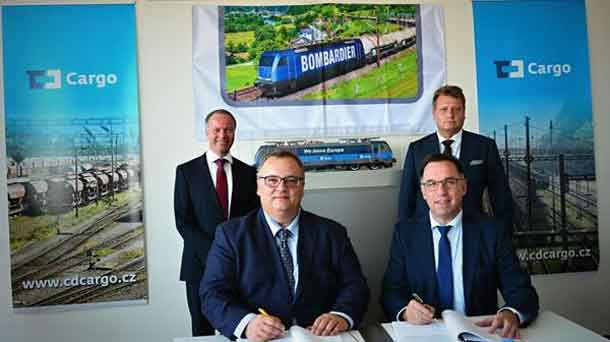 Contract signing with CD Cargo and Bombardier Transportation: (front l-r) Ivan Bednárik, Chairman of the Board of Directors, CD Cargo and Michael Fohrer, President, Region Central & Eastern Europe, Russia, Israel, CIS and China, Bombardier Transportation. (rear l-r) Peter Ammann, Head of Global Ecosystem Freight Corridors at Bombardier Transportation and Pavel Krtek, Chairman of the Supervisory Board, CD Cargo. Photo courtesy CD Cargo