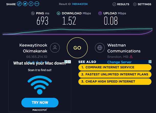 Internet Speeds in Fort Severn are too slow for most common uses of the Internet