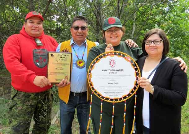 From left: Sergeant Matthew Gull, Grand Chief Alvin Fiddler, Junior Canadian Ranger Nova Gull, and Catherine Gull. Credit Sergeant Peter Moon, Canadian Rangers