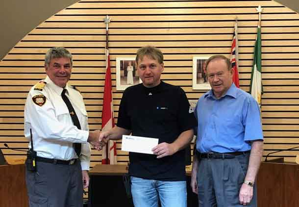 Photo L-R: Graham Warburton, fire chief, Atikokan Fire Rescue; Jamie McIntyre, technician utility services, Union Gas: Dennis Brown, mayor, Town of Atikokan