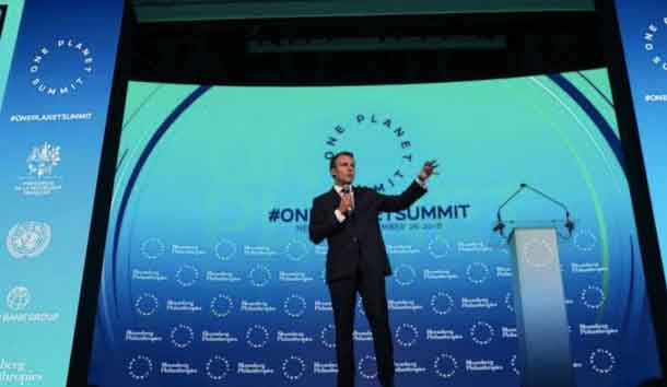 French President Emmanuel Macron speaks at the One Planet Summit in New York, U.S., September 26, 2018. REUTERS/Shannon Stapleton