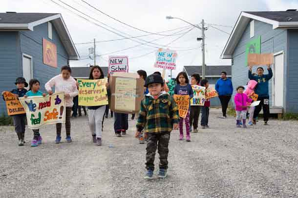 Students in Kashechewan rallying for a new school. Image - supplied by Charlie Angus