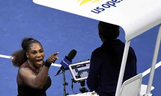 Serena Williams of the United States yells at chair umpire Carlos Ramos in the women's final against Naomi Osaka of Japan on day thirteen of the 2018 U.S. Open tennis tournament at USTA Billie Jean King National Tennis Center in New York, U.S., September 8, 2018. Credit: Danielle Parhizkaran-USA TODAY SPORTS/File Photo