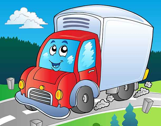 Cartoon delivery truck on road - deposit photos.com