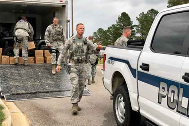 U.S. Airmen assigned to the 169th Security Forces Squadron, South Carolina Air National Guard, depart for Florence, South Carolina from McEntire Joint National Guard Base, to assist the Florence County Sheriff's Department and SLED with swift water and search and rescue efforts, September 14, 2018. More than 3,200 South Carolina National Guard Airmen and Soldiers have been mobilized to prepare, respond and participate in recovery efforts as forecasters project Hurricane Florence will have damaging impacts in the Carolinas and along the mid-atlantic region. (U.S. Air National Guard photo by Master Sgt. Caycee Watson) (U.S. Air National Guard photo by Master Sgt. Caycee Watson)