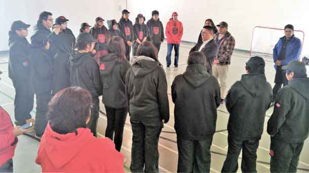 Nishnawbe Aski Nation Grand Chief Alvin Fiddler addresses grieving Junior Canadian Rangers credit: Warrant Officer Kevin Meikle