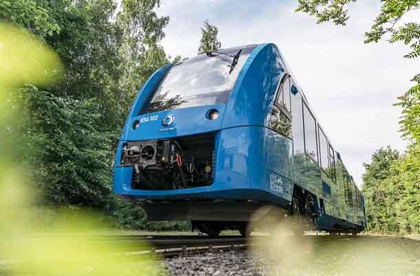 Blue Coradia iLint Hydrogen Multiple Unit light rail train