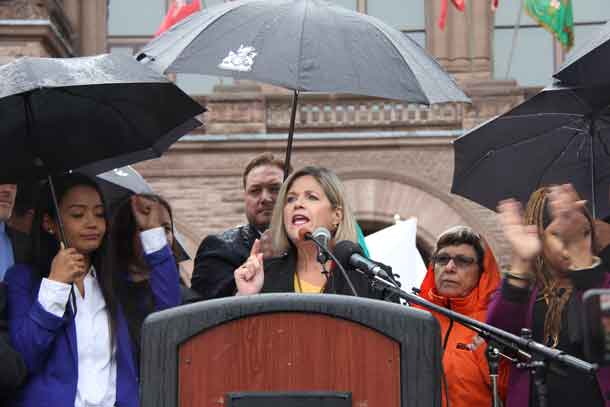 Andrea Horwath, leader of the New Democrats addressing Health Care Rally at Queen's Park