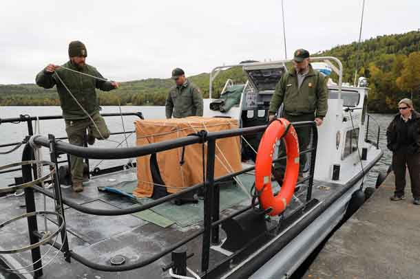 Photo by NPS - Alexandra Picavet. Loading wolf on NPS BEAVER.
