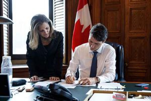 Prime Minister with Minister Freeland