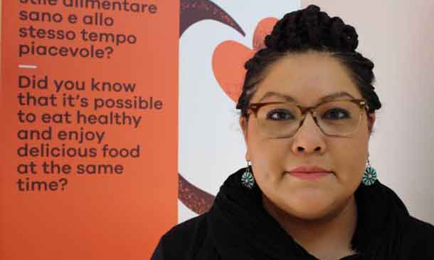 Denisa Livingston, a Navajo Nation member and organiser of a grassroots organisation that spearheaded the first-ever junk food tax in the U.S., poses at the Slow Food Terra Madre festival in Turin, Italy, on Sep 23, 2018. Thomson Reuters Foundation/Thin Lei Win