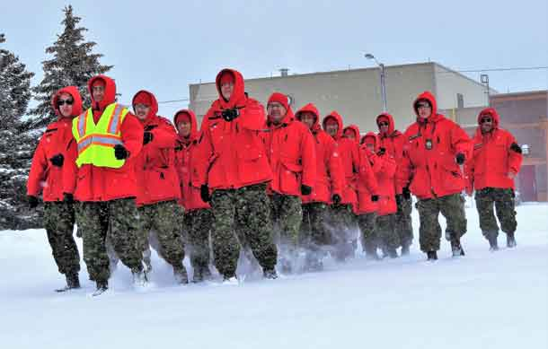 Canadian Rangers march during training at the 4th Canadian Division Training Centre at Meaford, near Owen Sound.