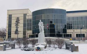 Thunder Bay City Hall on Remembrance Day