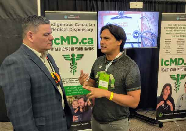 Conference chair Chief Isadore Day talks to Adam Beach of IcMD.ca