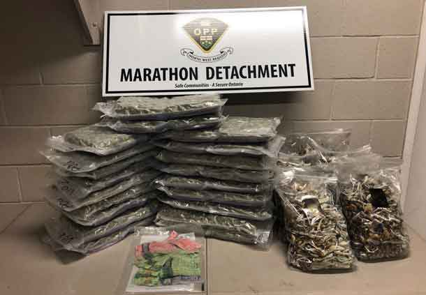 Marathon OPP show of the drugs and cash seized in a traffic stop