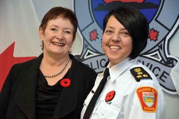 Thunder Bay Police Services Board Chair Dojack with Chief of Police Designate Haith