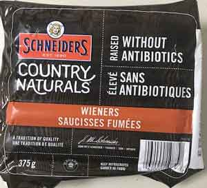 Maple Leaf Foods Inc. is recalling Schneiders brand Country Naturals Wieners from the marketplace because they may contain milk which is not declared on the label. People with an allergy to milk should not consume the recalled product described below.