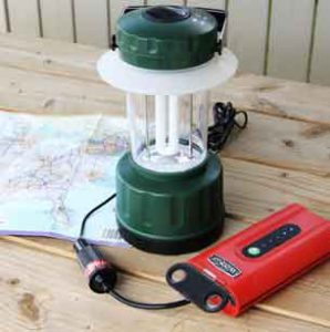 Weego Jump Starter 44 powers a 12V lantern (with 12v accessory).