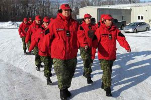 Canadian Rangers march during leadership training at 4th Canadian Division Training Centre at Meaford.