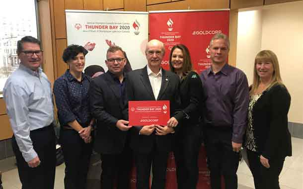 Goldcorp was announced as the presenting sponsor of the Special Olympics Canada Winter Games Thunder Bay 2020 to start the official countdown to The Games. From left, GOC Vice-Chair J.P. Levesque, GOC Games Manager Louisa Costanzo, Goldcorp's Peter Gula, GOC Chair Barry Streib, Goldcorp's Aileen Pajunen, GOC Member Paul Burke and GOC Vice-Chair Julie Tilbury.