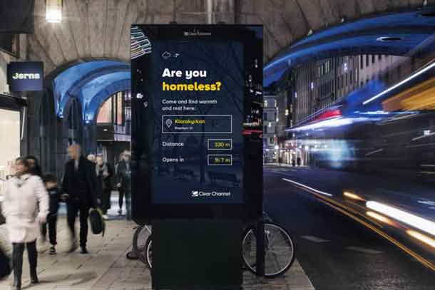 The Out of Home Project sees 53 Clear Channel billboards in Stockholm replace commercial ad content with information on the nearest homeless shelters when the temperature drops to freezing conditions. Photo courtesy of Clear Channel Sweden