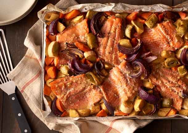 Maple Glazed Trout with Root Vegetables