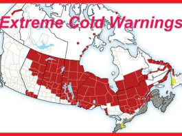 Extreme Cold Warnings are in effect across Western Canada and Northern Ontario