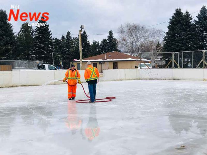 Flooding outdoor ice rink in Current River
