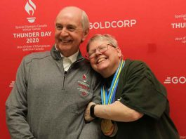 GOC Chair Barry Streib with Athlete Ambassador Yvette Degagne