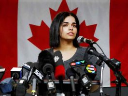 Rahaf Mohammed al-Qunun, an 18-year-old Saudi woman who fled her family, speaks at the COSTI Corvetti Education Centre in Toronto, Ontario, Canada January 15, 2019. REUTERS/Mark Blinch
