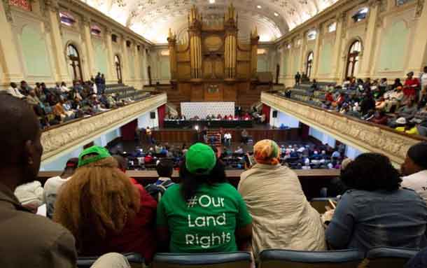 eople listen from the gallery as the Constitutional Review Committee hold public hearings regarding expropriation of land without compensation in Pietermaritzburg, South Africa July 20, 2018. REUTERS/Rogan Ward