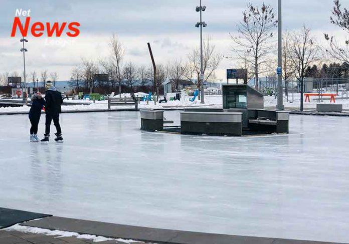 Skating at Marina Park at Prince Arthur's Landing in Thunder Bay