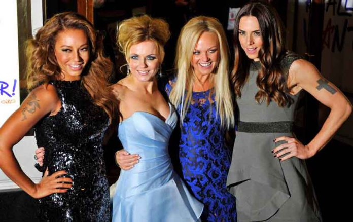 ARCHIVE IMAGE: Spice Girl members Melanie Brown (L-R), Geri Halliwell, Emma Bunton and Melanie Chisholm arrive for the premiere of the musical