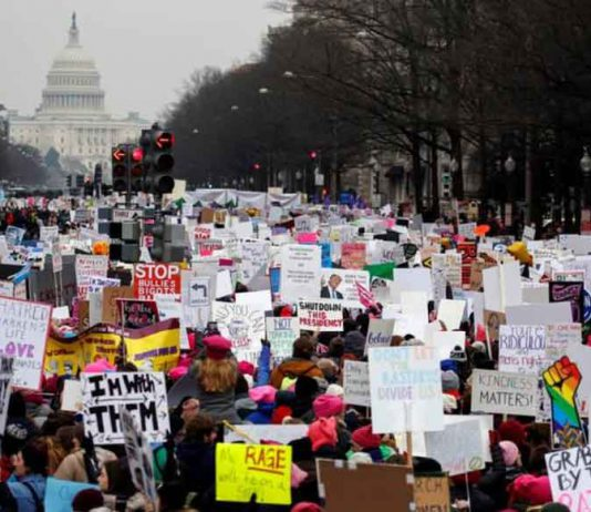 Thousands of people participate in the Third Annual Women's March at Freedom Plaza in Washington, U.S., January 19, 2019. REUTERS/Joshua Roberts