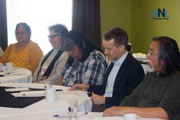Frank McKay, Minister O'Regan, Cat Lake Chief Keewaykapow, Ontario Regional Chief Archibald, Cat Lake Deputy Chief Wesley