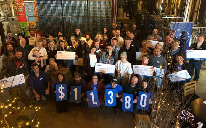 Craft Cares celebrates with participants at the Sleeping Giant Brewery