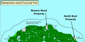 Map of Michipicoten Island showing land parcels acquired by Thunder Bay Field Naturalists
