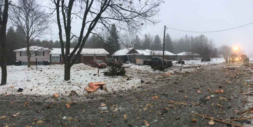 OPP Image of home that exploded in Caledon Ontario