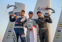 Yoshihide Muroya of Japan (C) celebrates with Martin Sonka of the Czech Republic (L) and Michael Goulian of the United States (R) during the Award Ceremony at the first round of the Red Bull Air Race World Championship at Abu Dhabi, United Arab Emirates on February 9, 2019. Photographer Credit: Joerg Mitter / Red Bull Content Pool