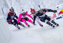 Anais Morand of Switzerland, Jacqueline Legere of Canada, Amanda Trunzo of the United States and Myriam Trepanier of Canada compete during the finals of women at the fifth stage of the ATSX Ice Cross Downhill World Championship at the Red Bull Crashed Ice in Jyvaskyla, Finland on February 2, 2019. Samo Vidic/Red Bull Content Pool
