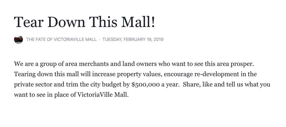 Tear Down this Mall