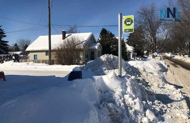 Trash Can at Thunder Bay Transit Stop buried in snow
