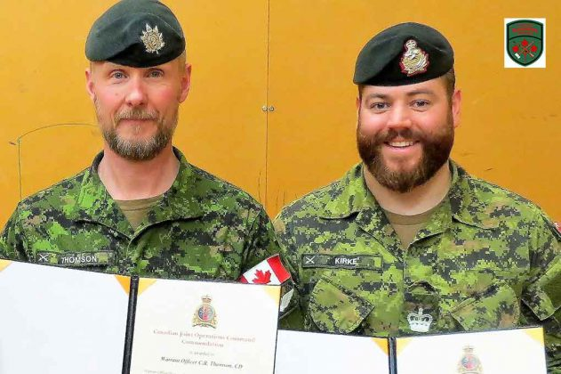 Warrant Officers Chris Thomson, left, and Ben Kirke.