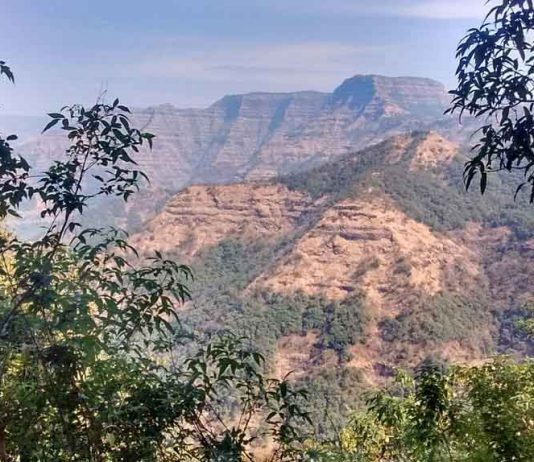 Layered lava flows within the Wai Subgroup from near Ambenali Ghat, Western Ghats. CREDIT -Courtney Sprain