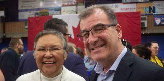 Kenora MP Bob Nault shares a moment at the Thunder Bay Town Hall at Lakehead University