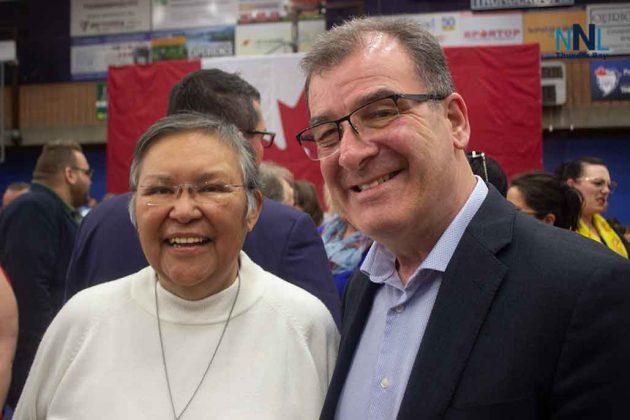 Kenora MP Bob Nault shares a moment at the Thunder Bay Town Hall at Lakehead University
