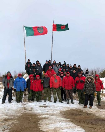 Junior Canadian Rangers from Bearskin Lake and Fort Severn with Canadian Rangers during training near Wapekeka.